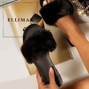 NEW Faux Fur Open Toe Slide Flat Sandal Flip Flops